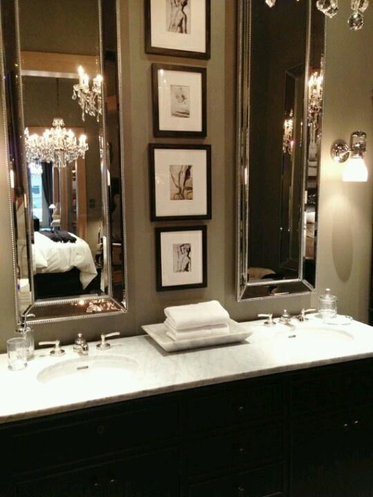 Elongated mirrors, double sink-- bathroom love