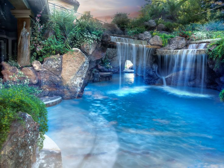 Luxury Swimming Pools With Waterfalls 359 best aqua > lagoons, grottos & waterfalls images on pinterest