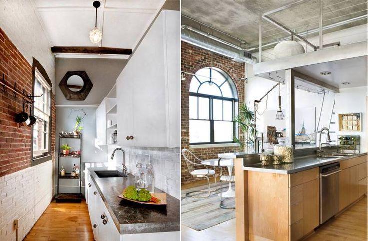 Отделка потолка на кухне в стиле лофт