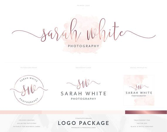 Photography Logo Branding Package Rose Gold And Pink