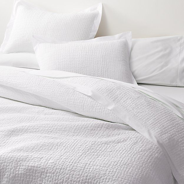 Celeste White Solid Quilts And Pillow Shams Crate And Barrel In 2020 White Quilt Bedding Solid Quilt King Quilt