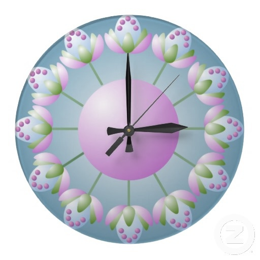 Pink Blue and Green Flower Bud Wall Clock