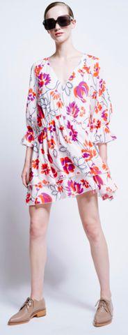 Karen Walker   Transition Rouched Dress in Penrose Floral Muslin