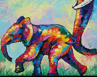 67 x 67 cm, Colorful elephant paintings, wall decor paintings