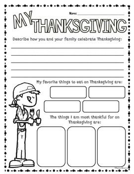 "This Thanksgiving Freebie is perfect for students to reflect on their Thanksgiving Holiday and what they are thankful for.   If you enjoyed this product, check out 50 pages of fun in my ""Thanksgiving Math and Literacy Fun Activities Bundle!  Enjoy!"