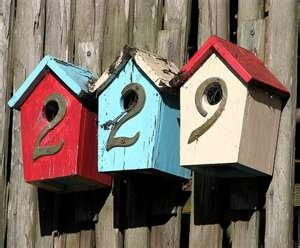 House numbers -- Bird box house numbers - I would put the number below the little entrance holes though