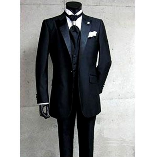 Custom Mens Black One Button Slim Fit Italian Dress Suits for Wedding SKU-123087