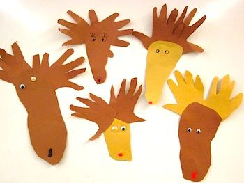 reindeer hand and foot prints....cute for little ones....great for bulletin boards along with other Christmas craft projects to create a neat class mural.