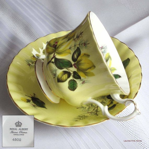 Free Shipping Royal Albert 4502 Yellow Bone China Tea Cup and Saucer - Made in…