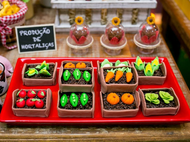 Festa fazendinha - Brigadeiro em formato de horta