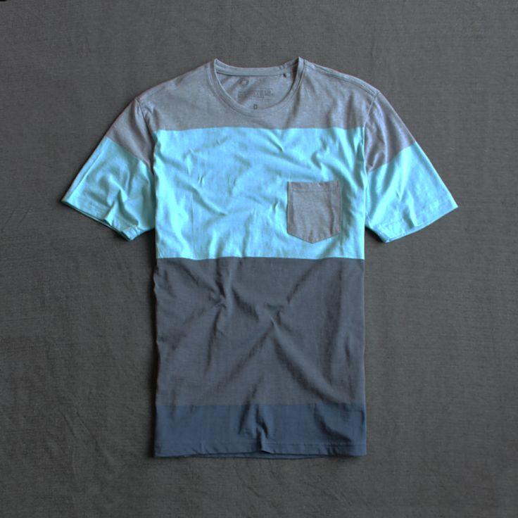 * * Peach бюргерских одиноких мужчин в Европе и Америке Мужская шею полосатый с короткими рукавами футболки свободные коротким рукавом летние модели Taobao внешней торговли M761-