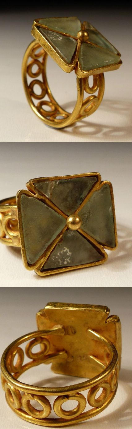 BYZANTINE GOLD CROSS RING, ~6C. Disappointing, no info on stone. Turquoise ? ALady.