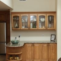 Keep your kitchen looking great and keep clutter to a minimum with these great built in cabinets. Show off the pretty stuff with glass doors. Decorate with style. Our customers love our cabinetry concepts!