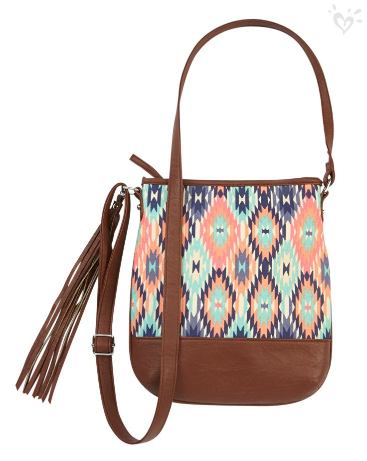 Prints that pop + fab fringe = best accessories for your accessory!