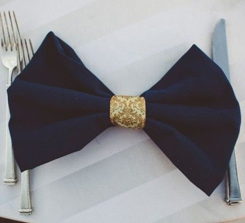 love the idea of napkins set to look like bow ties - my grandpa - whom I was very close with - wore one every day