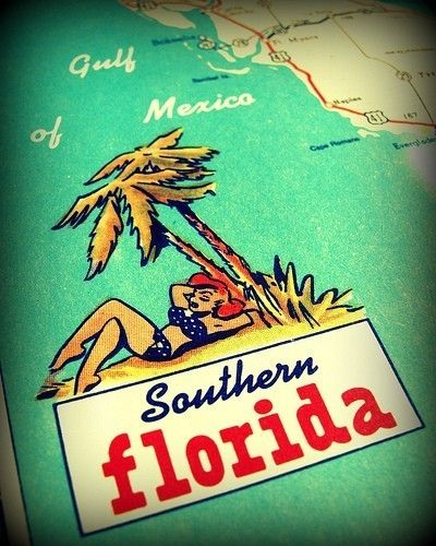 vintage map print SUNSHINE STATE 1960's Florida