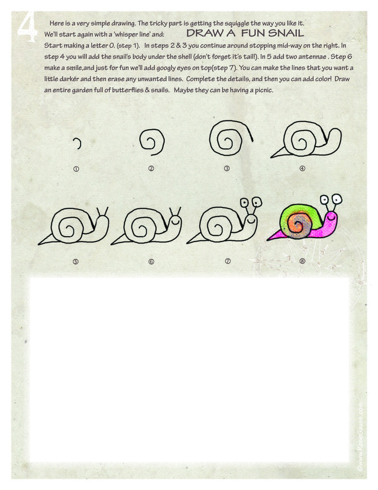 how to draw a snail step by step easy