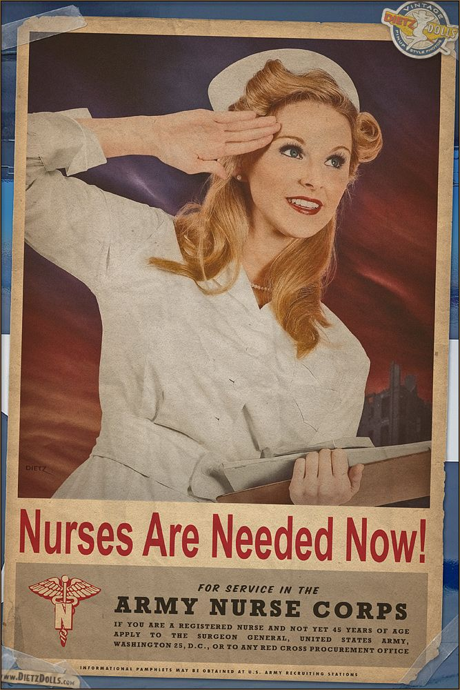 warbirdphotos:  A new WW2 propaganda inspired recreation poster! This time celebrating the VERY important and crucial Nurses of World War 2....