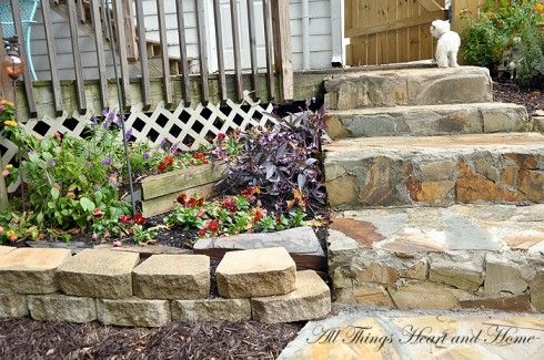 back yard makeover, diy, gardening, how to, landscape, outdoor living, To add a bit of a cottage feel we added stone steps going into the yard