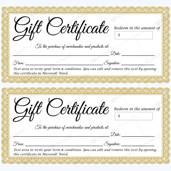 47 best Gift Certificate Templates images on Pinterest Gift - gift certificate template microsoft word