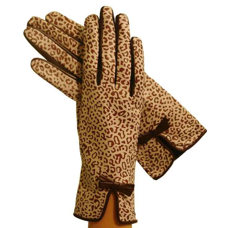 Italian Leather Brown/Beige Animal Print Gloves 15% off and free shipping with promo code: holiday13 www.litalia.com