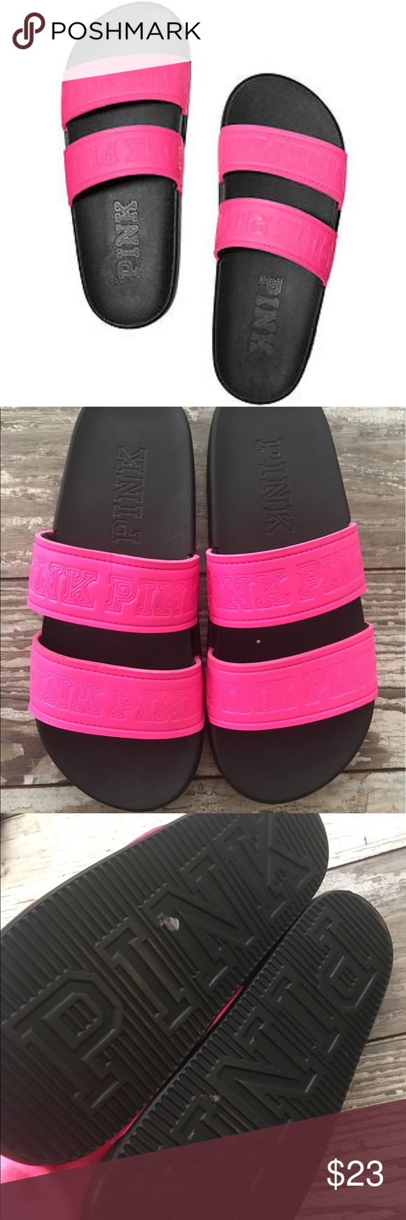 VS pink slides sandals small 5 6 cute beach Victoria's Secret pink hot pink 2 straps slides sandals. Size small 5/6 euc PINK Victoria's Secret Shoes Sandals