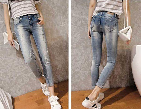 Celana Panjang Jeans Robek Wanita Online Terbaru B2786