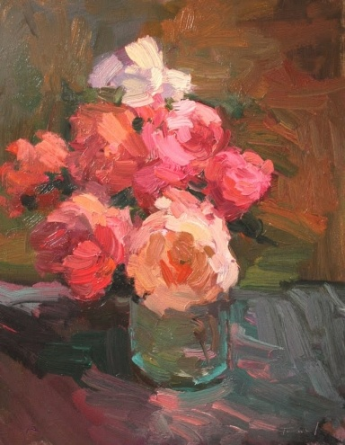 Roses in Glass Vase, painting by artist Kathryn Townsend