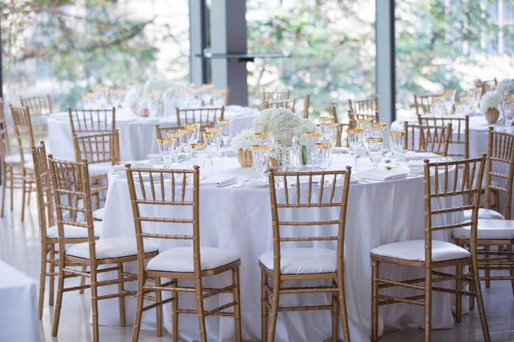 Royal Conservatory of Music wedding reception table decor with gold accents