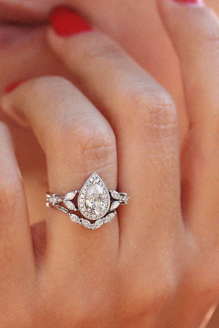 One Carat Pear Diamond Unique Engagement Ring Set Pear Diamond