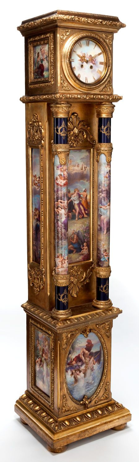 Timepieces:Clocks, AN IMPORTANT KPM PORCELAIN AND GILT WOOD TALL CASE CLOCK .Königliche Porzellan-Manufaktur (KPM), Berlin, Germany, circa190... Image #2