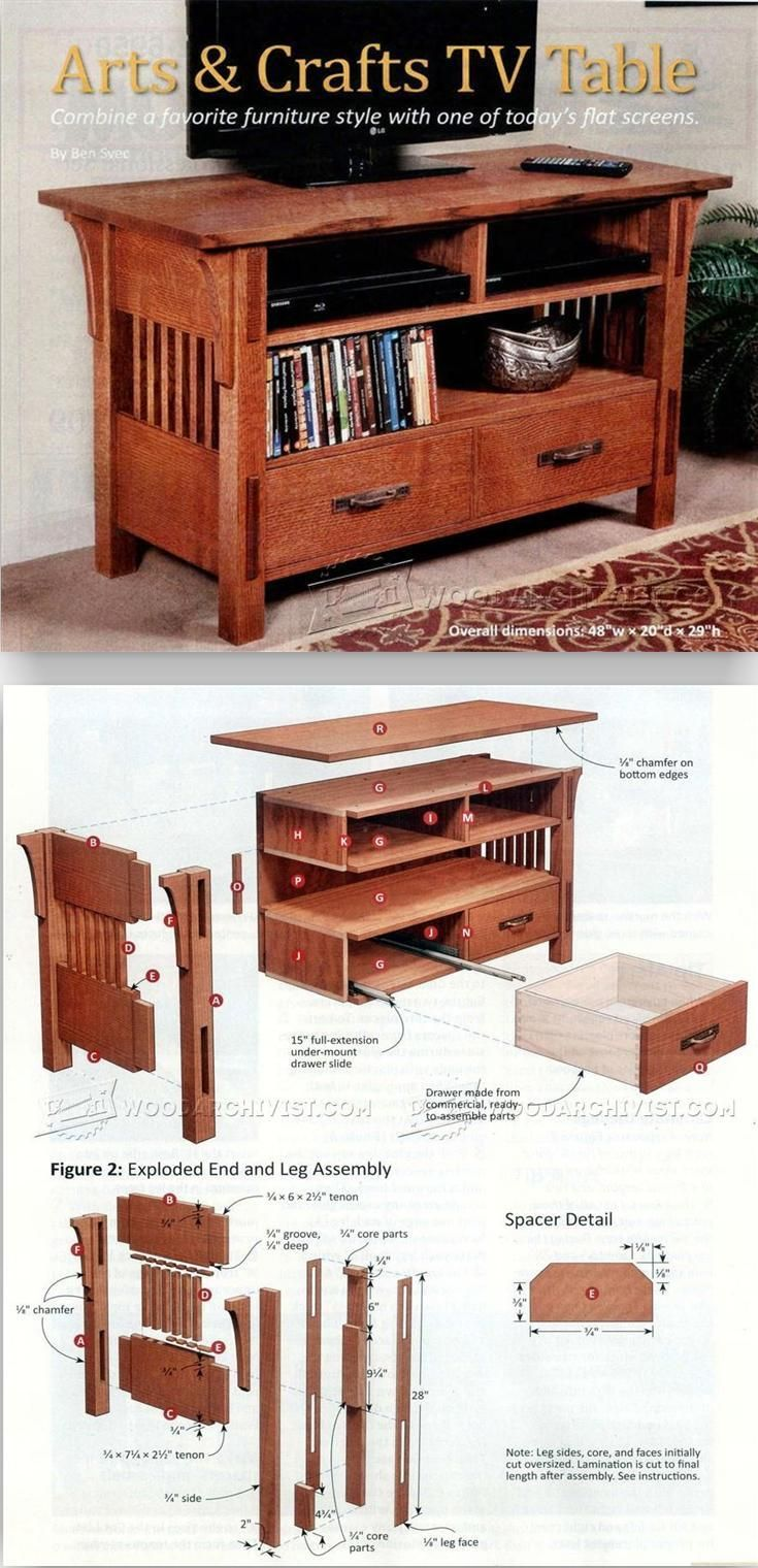 Arts & Crafts TV Stand Plans - Furniture Plans and Projects | WoodArchivist.com