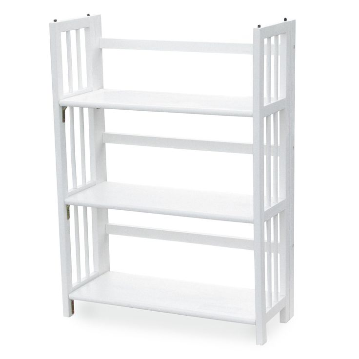 3tier stackable folding bookcase white folds flat for your convenience - Folding Bookcase