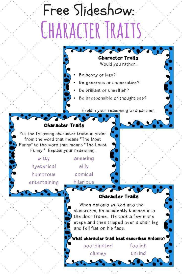 Free Slideshow For Teaching Character Traits Teaching Character Traits Teaching Character Character Trait Worksheets [ 1102 x 735 Pixel ]
