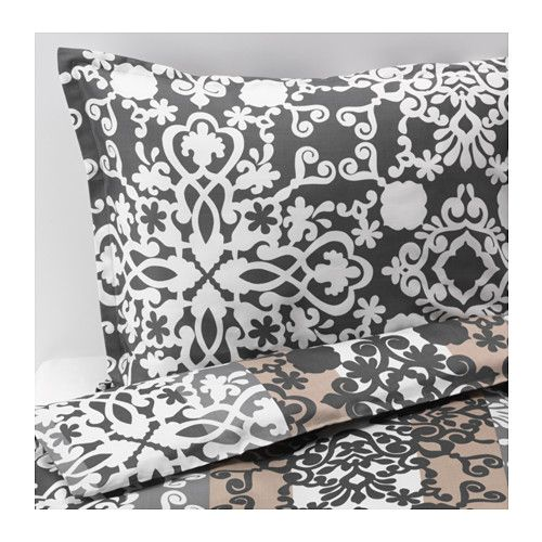 PRAKTTRY Quilt cover and 2 pillowcases - grey/white/beige, 240x220/50x80 cm - IKEA