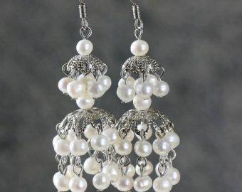 Wiring branch chandelier pearl earrings by AnniDesignsllc on Etsy