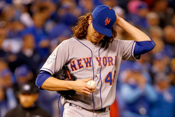 WORLD SERIES GAME 2 - Jacob deGrom of the New York Mets reacts during the fifth inning of Game 2 of the World Series against the Kansas City Royals at Kauffman Stadium on Oct. 28, 2015. (Photo by Jamie Squire/Getty Images)