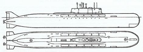 Plano de detalle del submarino Kursk
