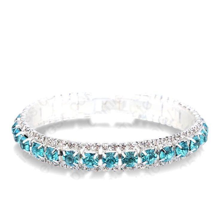 Aquamarine Crystal Rhinestone Line Bracelet  (Sparkle-1109-U) #Unbranded #Tennis