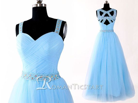2015 Hot Sky Blue Floor-Length Prom Dress With Sequins,Evening Dress With Criss Cross Straps, Tulle Long Prom Dresses,Formal Dress