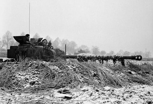 A British firefly lies in wait for German armor on the German/Belgian border, January 1945.