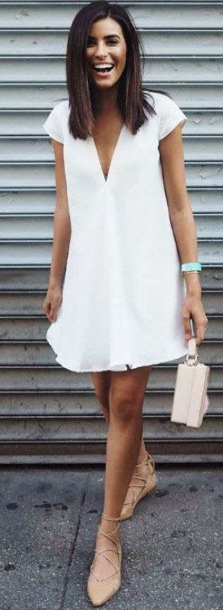 Simple v neck dresses make such cute white dresses!