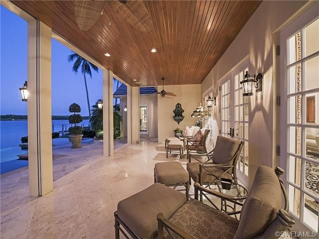 Lanai Veranda Cypress Wood Ceiling Water View Outdoor