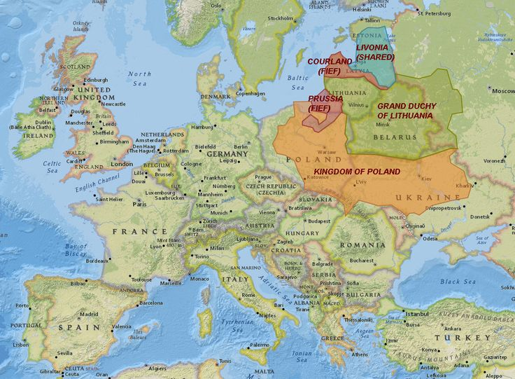 Divisions of Poland-Lithuania circa 1616, with modern borders. Maps on the Web: Photo