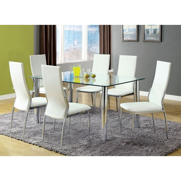 Furniture of America Arden 7-piece Contemporary Dining Set (White), Size 7-Piece Sets