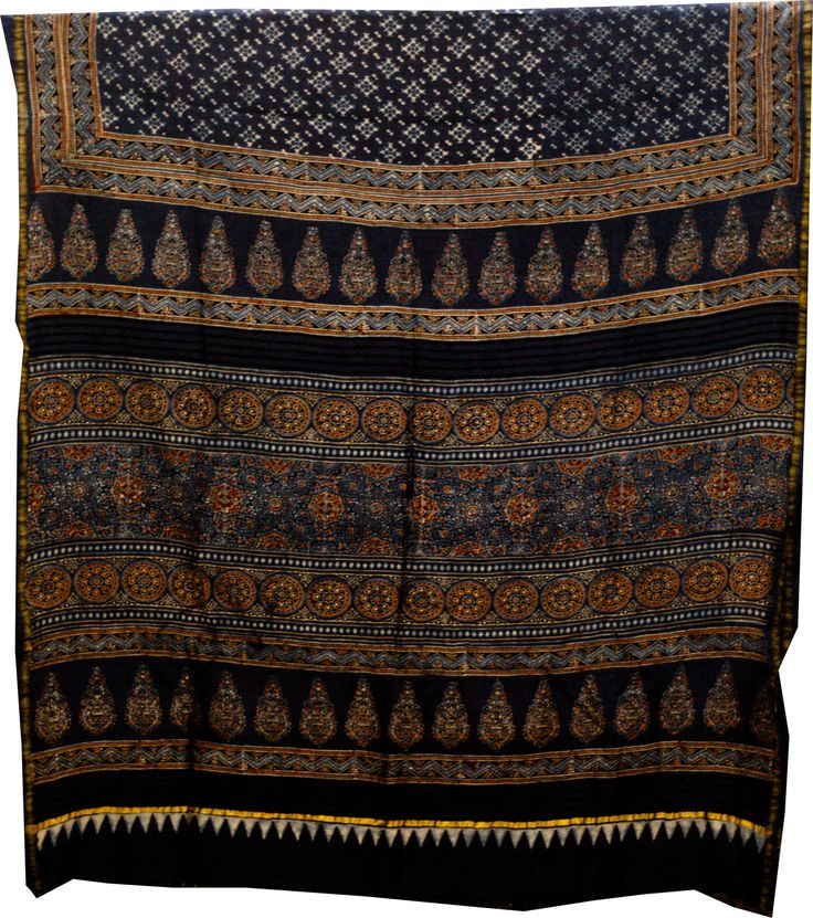 The printing is done with the natural dyes- vegetable and mineral dyes- while indigo being its key colours of Ajrakh Sarees.