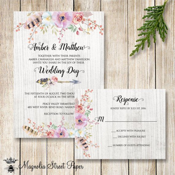 Floral Wedding Invitation, Boho Wedding Invite, Rustic Flowers and Feathers…