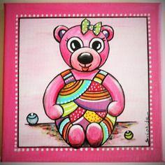 """Tableau personnalisable de la petite ourse """"roze"""""""