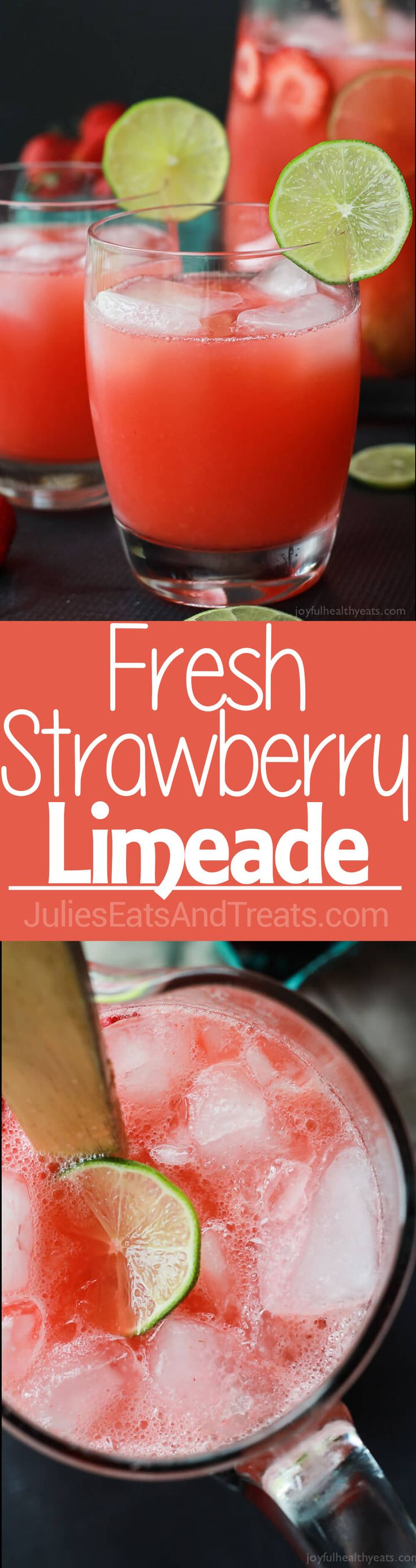 Fresh Strawberry Limeade made with 5 ingredients and done in 5 minutes! ~ http://www.julieseatsandtreats.com