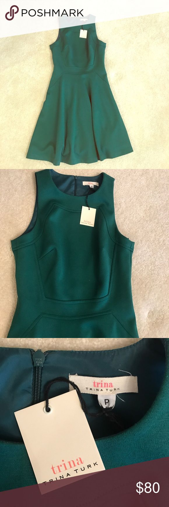 """Trina Turk Dress Gorgeous hunter green dress. Purchased at Nordstrom. New with tags. The tag just says """"P"""", which I just noticed for the first time, but is a 0. Trina Turk Dresses"""